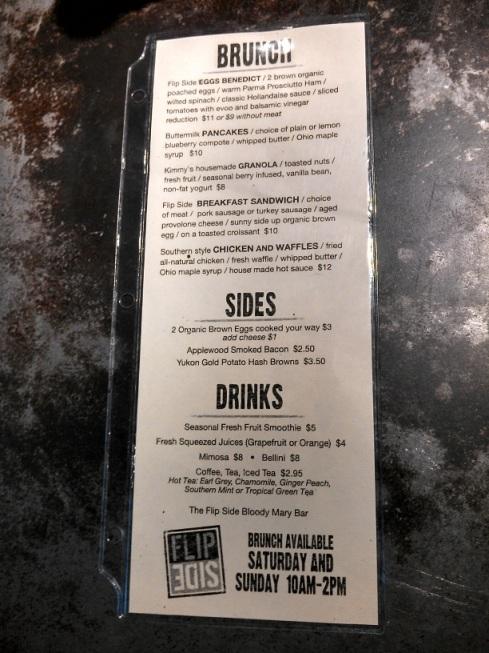 FlipSide's weekend brunch menu.