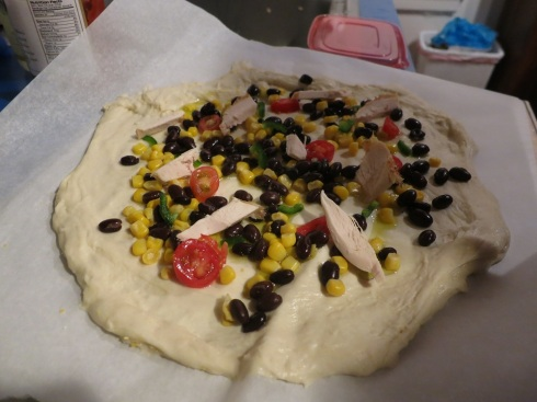 Luke and Theresa's Jimmie's Chicken Shack inspired pizza...or something like that.