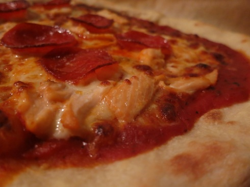 Ron's pepperoni and salmon pizza.  An unusual, and interesting, combination.