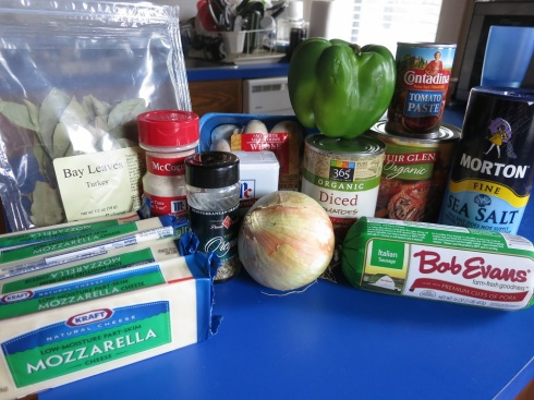 An earlier stage: (most of) the pizza ingredients.