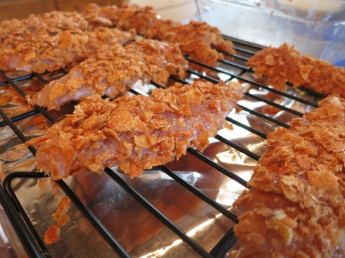 A full tray of Grippo's-crusted chicken, ready for their closeup . . . with the oven.