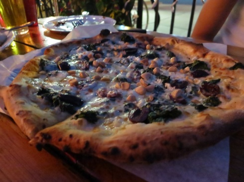 The Xerxes -- sautéed spinach, sheep's milk feta, mozzarella, kalamata olives and almonds