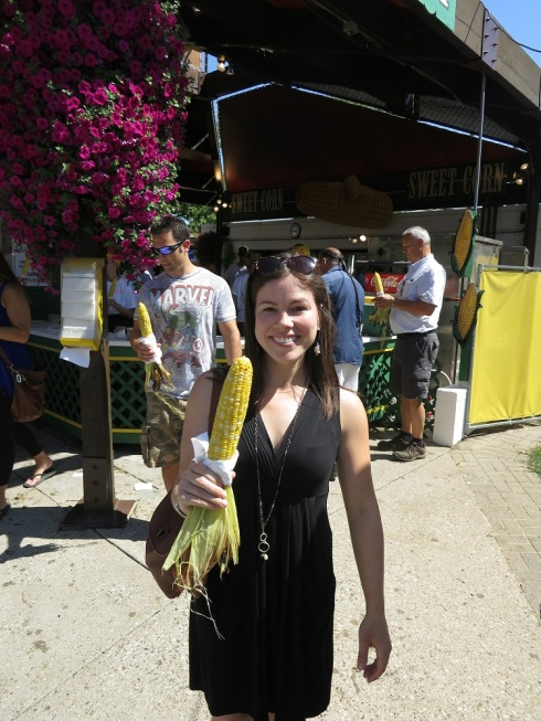 Tania with her butter-dipped corn.